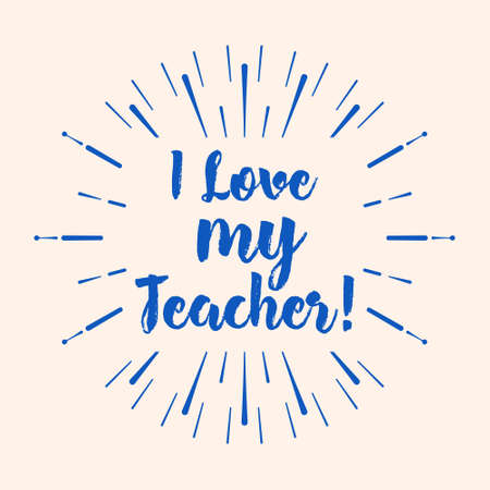 I love my teacher typography lettering design for greeting card i love my teacher typography lettering design for greeting card logo stamp or m4hsunfo
