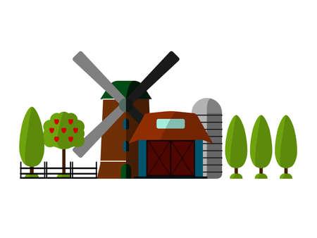 tillage: Agricultura Agricultura y el fondo del paisaje rural. Granero, signo del molino, Árbol. Elementos para la información gráfica, Bandera del estilo websites.Retro.