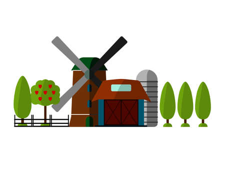 labranza: Agriculture Farming and Rural landscape background. Barn, Mill, Tree sign. Elements for info graphic, websites.Retro style banner.