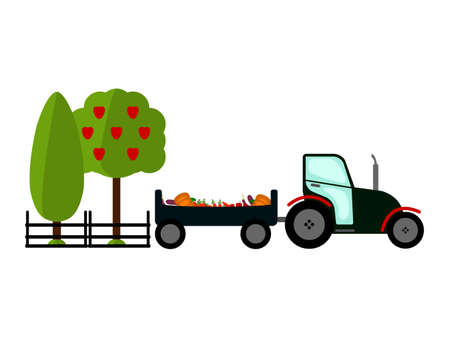 tillage: Agriculture Farming and Rural landscape background. Tractor and Vegetables sign. Elements for info graphic, websites.Retro style banner.