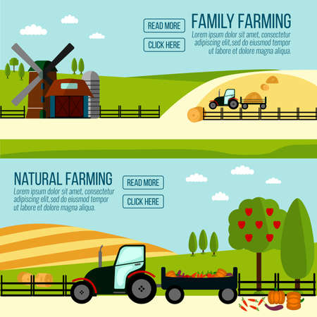 labranza: Natural and Famaly Farming banner. Agriculture Farming and Rural landscape background. Elements for info graphic, websites.Retro style banner. Vectores