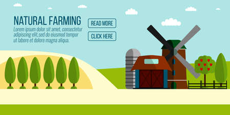 labranza: Natural Farming banner.Agriculture Farming and Rural landscape background. Elements for info graphic, websites.Retro style banner.