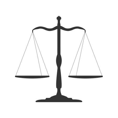 Black Libra icon.. Balance symbol judgment, law icons. Protect and Serve label. Vector Illustration.