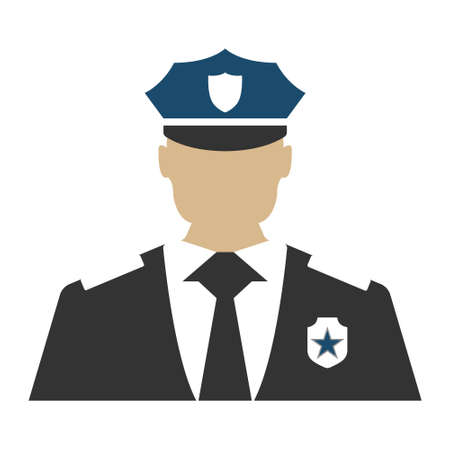 Police officer. Elements of the police equipment icons. Protect and Serve label. Vector Illustration.