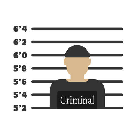 Criminal man. Elements of the police equipment icons. Protect and Serve label. Vector Illustration.