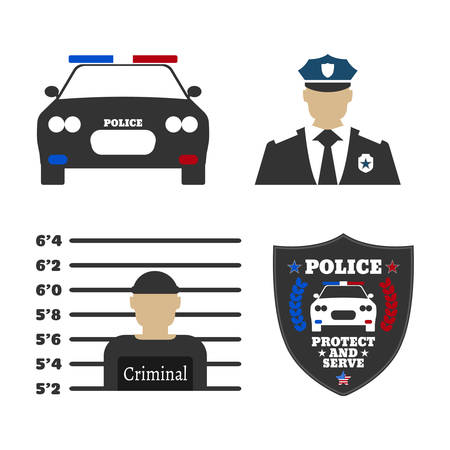 department head: Police car, police sign, officer, criminal man. Elements of the police equipment icons. Protect and Serve label. Vector Illustration. Illustration