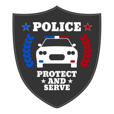 Police sign. Elements of the police equipment icons. Protect and Serve label. Vector Illustration.