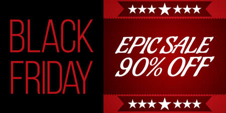 epic: Black Friday shopping sale concept on black and red background. Black Friday banner. Best deal offer sign. Epic clearance sale. Vector Illustration.