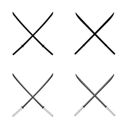 katana: Japanese Katana. Samurai Isolated weapons. Vector illustration.