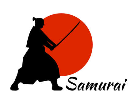 Japanese Samurai Warriors Silhouette with katana sword on Red Moon. Vector illustration.