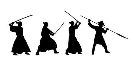 The Set of Samurai Warriors Silhouette with katana sword. Vector illustration. Illustration