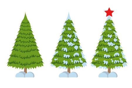 Merry Christmas tree sign on white background. Pine sign. Vector Illustration.