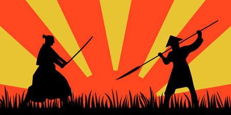 Japanese Samurai Warriors Silhouette with katana sword on Orange Sun background. Vector illustration.
