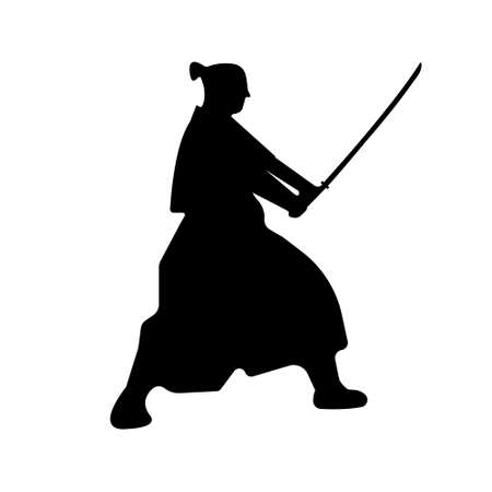 Samurai Warriors Silhouette with katana sword. Vector illustration.