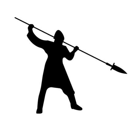Slavic Warrior Silhouette with lance sword. Vector illustration.