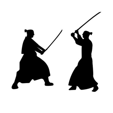 The Set of Samurai Warriors Silhouette with katana sword. Vector illustration. Illustration