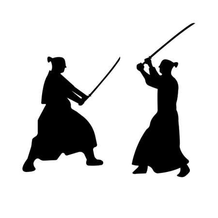 katana: The Set of Samurai Warriors Silhouette with katana sword. Vector illustration. Illustration