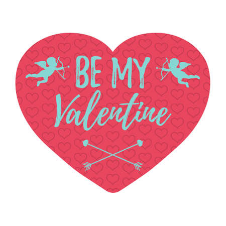 Be My Valentine Card with hearts, angel and arrow. Isolated vector illustration. Illustration