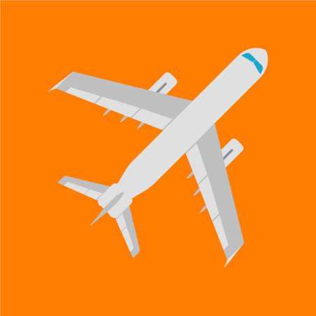 Airplan flat icon, sign and symbol. Vector Illustration. Illustration