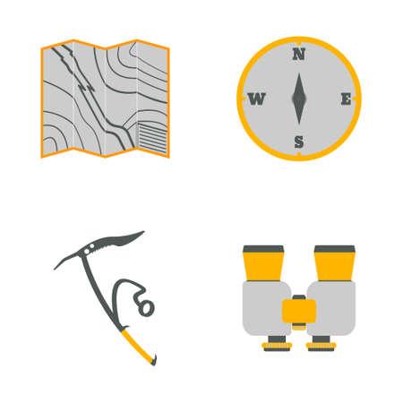 Map, compass, ice ax, binoculars flat icons.Tourism equipment. Trip web elements. Vector illustration.