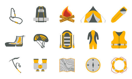 crampon: Rafting and tourism icons collection. Tourism equipment. River boat trip web elements. Vector illustration.
