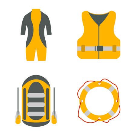 Diving suit, life jacket, raft, lifebuoy flat icons. Tourism equipment. Trip web elements. Vector illustration.