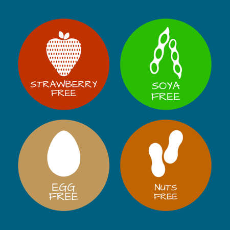Set of food labels - allergens, GMO free products. Food intolerance symbols collection. Vector illustration. Vettoriali