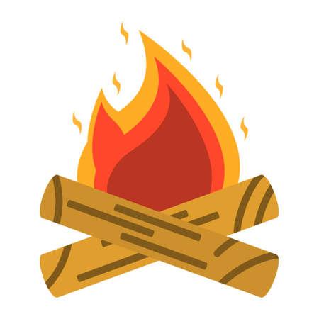 crampon: Campfire, bonfire icon. Tourism equipment. River boat trip web elements. Vector illustration. Illustration