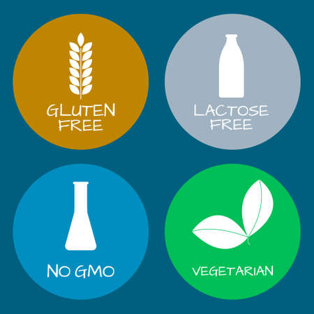 alergenos: Set of food labels - allergens, GMO free products. Food intolerance symbols collection. Vector illustration. Vectores