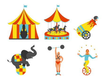 Set of Circus icon. Vintage clip art set. Vector illustration.