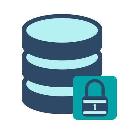 Database on protrect. Flat Vector illustration on white background.