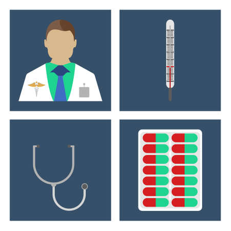 laboratory equipment: Doctor, thermometer, stergoscope. Set of Medical object flat icon. Vector Illustration Illustration