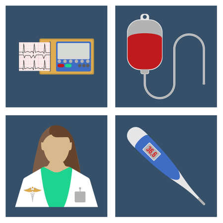 laboratory equipment: Doctor, thermometer, ECG, Blood Dpopper. Set of Medical object flat icon. Vector Illustration Illustration
