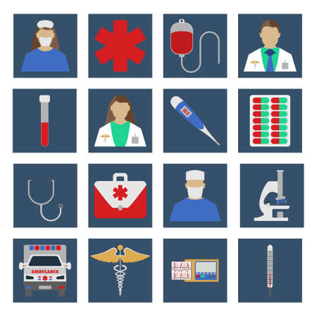clinical staff: Set of Medical object flat icon. Vector Illustration