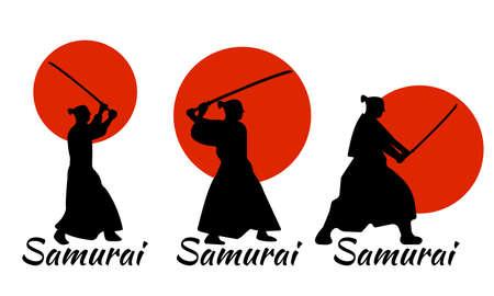 3 Japanese Samurai Warriors Silhouette with katana sword on Red Moon. Vector illustration. Illustration