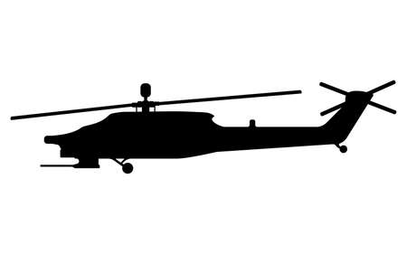 Helicopter silhouette. Military equipment icon. Vector illustration.