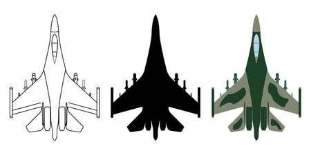 Fighter aircraft silhouette, cartoon, outline. Military equipment set icon. Vector illustration. Illustration