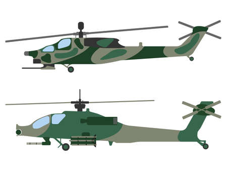 Cartoon helicopter. Military equipment icon. Vector illustration. Illustration