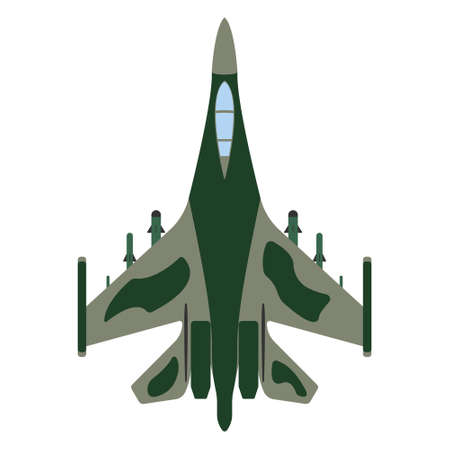 Fighter aircraft cartoon. Military equipment icon. Vector illustration.