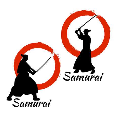 sidekick: Japanese Samurai Warriors Silhouette with katana sword on Red Moon. Vector illustration.