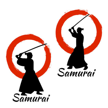 Japanese Samurai Warriors Silhouette with katana sword on Red Moon. Vector illustration.