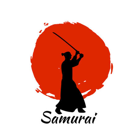 soldiers: Japanese Samurai Warriors Silhouette with katana sword on Red Moon. Vector illustration.