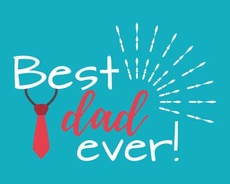 Gelukkige Vaderdag banner en giftcard. Beste vaderafficheteken op achtergrond. Vectorillustratie. Stock Illustratie