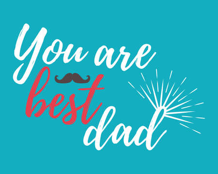 Happy Fathers Day banner and giftcard. Best Dad Poster Sign on Background. Vector Illustration.