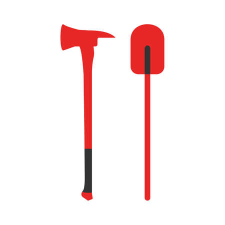 Axe and Shovel icon. Elements of the fire departament equipment icons. Vector Illustration.