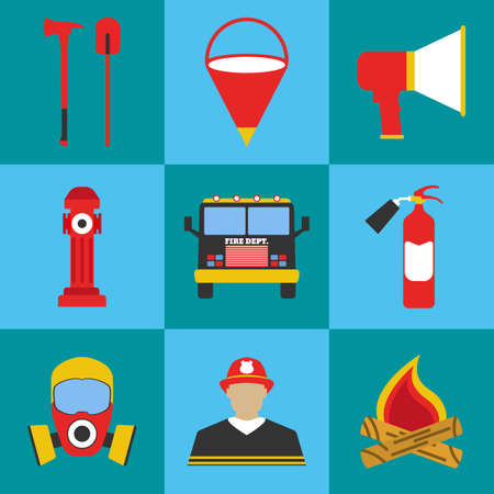 Firefighter icon set. Elements of the fire departament equipment icons. Vector Illustration. Illustration