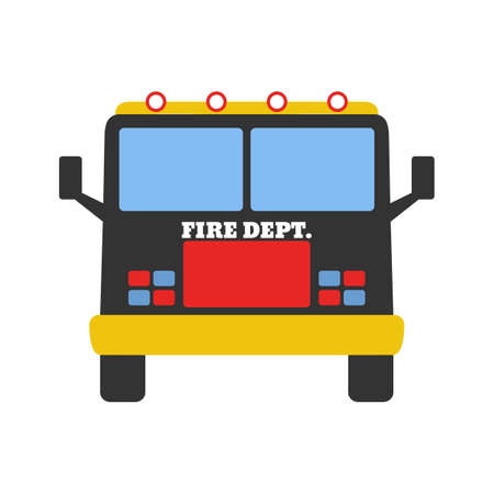 Fire car. Elements of the fire departament equipment icons. Vector Illustration.
