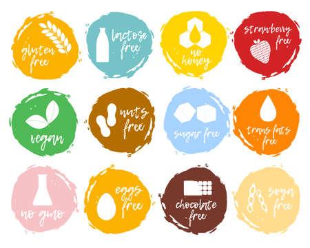 Set van voedseletiketten - allergenen, GMO-vrije producten. Voedselintolerantie symbolen verzameling. Vector illustratie.