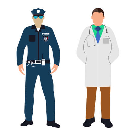 Policeman and Doctor flat icon. Service 911. Cartoon Vector illustration.