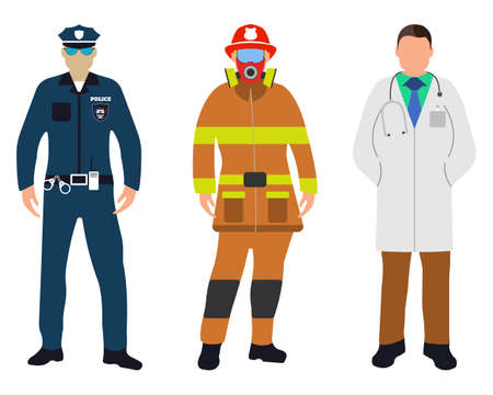 Set of Policeman, Doctor, Fireman flat icons. Service 911. Cartoon Vector illustration.
